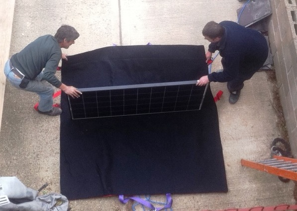 The first solar panel bag being testing on-site in Suffolk